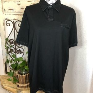 Banana Republic black fitted pima polo